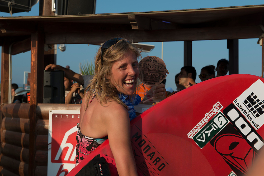 Katja Roose (NL) wins the female race at the European Kiteracing Champioship, Gizzeria (CZ), Italy