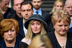 © Licensed to London News Pictures. 28/02/2017. London, UK. A relative of one of the victims of the Tunisia terror attack has a tear in her eye as she leaving the Royal Courts of Justice in London with other relatives of victims, where Judge Nicholas Loraine-Smith handed down a ruling on the cause of death of 30 Britons gunned down by Seifeddine Rezgui, on a beach in Sousse, Tunisia.  Photo credit: Ben Cawthra/LNP