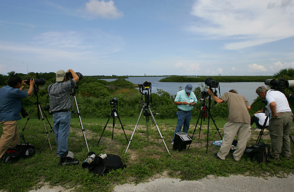 Space Shuttle Discovery launch, STS-121.Photographers set up for the Discovery launch on Saturday, July 1, 2006.  The attempt was canceled because of bad weather in the area.