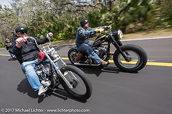 Ride through Tomoka State Park during Daytona Beach Bike Week. FL. USA. Tuesday, March 14, 2017. Photography ©2017 Michael Lichter.