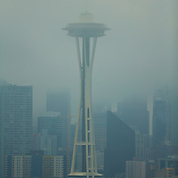 The Seattle icon in iconic Seattle weather