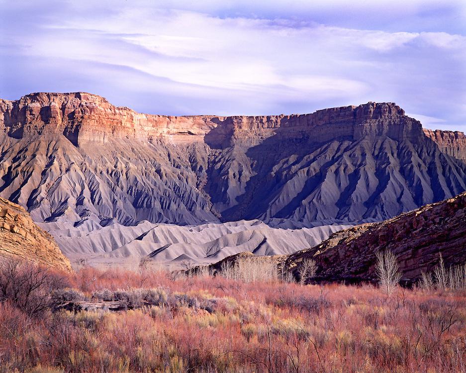 Winter Wetland Below Bentonite Mesas, Cainsville, Utah