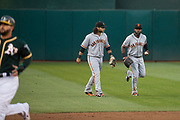 San Francisco Giants center fielder Denard Span (2) runs from the outfield after catching a fly ball against the Oakland Athletics at Oakland Coliseum in Oakland, California, on July 31, 2017. (Stan Olszewski/Special to S.F. Examiner)