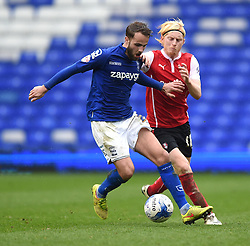 Birmingham City's Andrew Shinnie competes with Rotherham United's Ben Pringle - Photo mandatory by-line: Paul Knight/JMP - Mobile: 07966 386802 - 03/04/2015 - SPORT - Football - Birmingham - St Andrew's Stadium - Birmingham City v Rotherham United - Sky Bet Championship