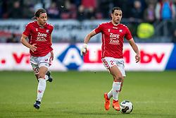 05-02-2017 NED: FC Utrecht - Heerenveen, Utrecht<br /> 21e speelronde van seizoen 2016-2017, Nieuw Galgenwaard / Sofyan Amrabat #25, Giovanni Troupee #20