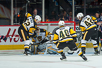 REGINA, SK - MAY 25: Kaden Fulcher #33 of Hamilton Bulldogs makes a save against the Regina Pats at the Brandt Centre on May 25, 2018 in Regina, Canada. (Photo by Marissa Baecker/CHL Images)