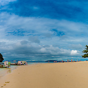 Panorama of empty Phra Nang beach in Krabi, Thailand