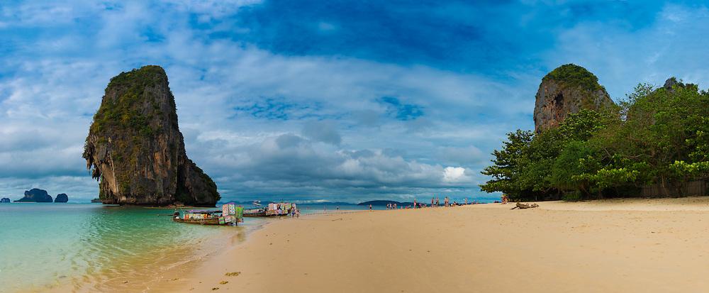 Panorama of empty Phra Nang beach in Krabi, Thailand