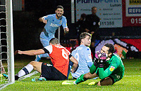 Luton Town's James Shea reacts after Matty Pearson scores an own goal in the final moments of the game<br /> <br /> Photographer Alex Dodd/CameraSport<br /> <br /> The EFL Sky Bet Championship - 191123 Luton Town v Leeds United - Saturday 23rd November 2019 - Kenilworth Road - Luton<br /> <br /> World Copyright © 2019 CameraSport. All rights reserved. 43 Linden Ave. Countesthorpe. Leicester. England. LE8 5PG - Tel: +44 (0) 116 277 4147 - admin@camerasport.com - www.camerasport.com