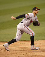 CHICAGO - APRIL 29:  Richie Martin #1 of the Baltimore Orioles fields against the Chicago White Sox on April 29, 2019 at Guaranteed Rate Field in Chicago, Illinois.  (Photo by Ron Vesely)  Subject:   Richie Martin
