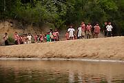 Katoka School Children on picnic<br /> Rupununi River<br /> Rupununi<br /> GUYANA<br /> South America