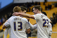 Preston celebrate the win during the Sky Bet Championship match between Wolverhampton Wanderers and Preston North End at Molineux, Wolverhampton, England on 13 February 2016. Photo by Alan Franklin.