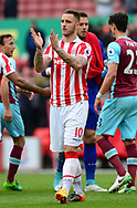Marko Arnautovic of Stoke claps to the fans . Premier league match, Stoke City v West Ham Utd at the Bet365 Stadium in Stoke on Trent, Staffs on Saturday 29th April 2017.<br /> pic by Bradley Collyer, Andrew Orchard sports photography.