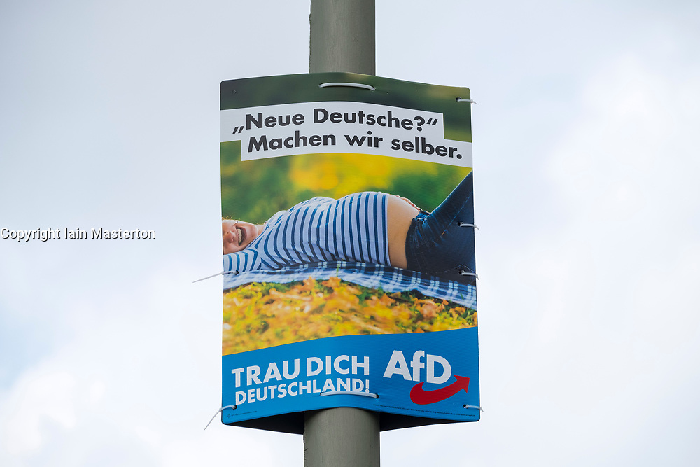 """Election poster  (with message - """"New Germany? Lets do it ourselves) for AfD , Alternative fur Deutschland, right wing political party, in Berlin Germany August 2017."""