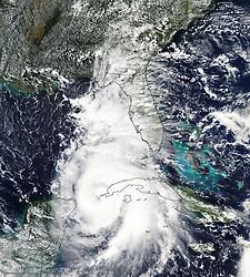 October 8, 2018 - Cuba - The MODIS instrument aboard NASA's Aqua satellite captured a visible image of Hurricane Michael when it was a Category 1 hurricane near the western tip of Cuba.  (Credit Image: © NASA Earth/ZUMA Wire/ZUMAPRESS.com)