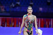 Kim Chaewoon during qualifying in Pesaro at  Vitrifrigo Arena at World Cup in Pesaro on May 28/29, 2021. Kim is an Korean rhythmic gymnastics born in 2001.