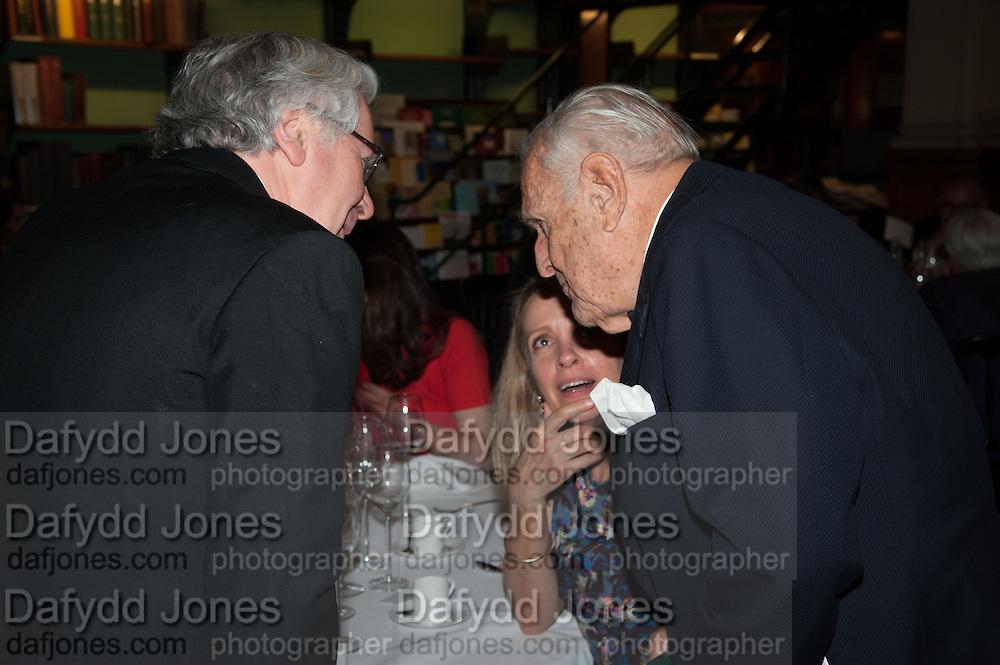 SABRINA GUINNESS; SIR JOHN RICHARDSON, The London Library Annual  Life in Literature Award 2013 sponsored by Heywood Hill. The London Library Annual Literary dinner. London Library. St. james's Sq. London. 16 May 2013.