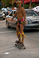 A person, in costume as butterfly, skating on Ocean Drive during the 2008 Miami Urban Weekend. .The Miami Beach Urban weekend in the largest Urban Festival in the World, that caters toward the Hip Hop Generation. Over 300.000 participants make the annual trek to South Beach for 4 days full of fun, food, festivities, entertainment, music, and more.