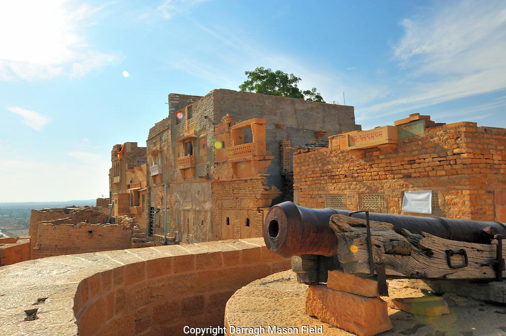 Cannon on the city wall of the Jaisalmer fort in Rjasthan