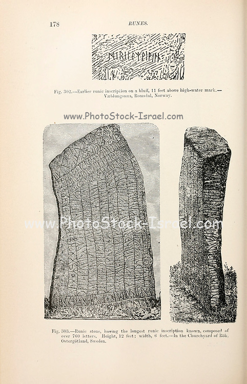 Runic stone, having the longest runic inscription known, composed of over 760 letters. In the Churchyard of Rok, Ostergotland, Sweden from the book '  The viking age: the early history, manners, and customs of the ancestors of the English speaking nations ' by Du Chaillu, (Paul Belloni), 1835-1903 Publication date 1889 by C. Scribner's sons in New York,