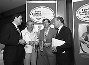 """Ford Siamsa Cois Laoi..1985..17.06.1985..06.17.1985..17th June 1985..At a press luncheon in Dublin, the names of the forthcoming artists for the Siamsa Cois Laoi music festival were announced. The artists include, Kris Kristofferson,Louden Wainwright III,.Stocktons Wing and The Wolfe Tones..The Ford sponsored festival takes place in Parc Ui Chaoimh,Cork City,on the 28th of July.This is the second year of a three year sponsorship deal.It is hoped that after the success of last years'event that this year will be bigger and better than ever..Mr Kieven,Chairman and M.D. of Ford Ireland stated """"The 1984 Ford Siamsa was Ford's first association with Ireland's Premier Folk Music Festival..Ford were very pleased with the outstanding success that was achieved and that the friendly co-operation of everyone involved helped to ensure a memorable day""""..Image of happy sponsor and committee members as they pose in front of the Siamsa Cois Laoi Poster"""