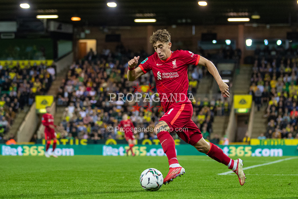 NORWICH, ENGLAND - Tuesday, September 21, 2021: Liverpool's Kostas Tsimikas during the Football League Cup 3rd Round match between Norwich City FC and Liverpool FC at Carrow Road. Liverpool won 3-0. (Pic by David Rawcliffe/Propaganda)