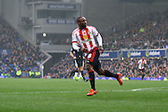 Jermain Defoe of Sunderland reels away and celebrates after scores his teams 1st goal. Barclays Premier League match, Everton v Sunderland at Goodison Park in Liverpool on Sunday 1st November 2015.<br /> pic by Chris Stading, Andrew Orchard sports photography.