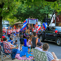 Lititz, PA / USA - July 3, 2017:   Small American town enjoys a parade in observance of the 4th of July Independence Day celebration.