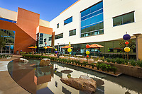 The Kaiser Permanente Antelope Valley Medical Center features an outdoor patio area in the center of the buildings with seating by water. The building is environmentally friendly and has wind and solar power. Photo by David Sprague