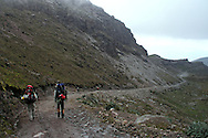 Hiking down from the  Berge', Ruales, Oleas Refuge on Mt  Cayambe in Northern, Ecuador.