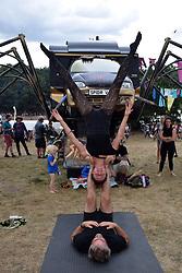 Latitude Festival, Henham Park, Suffolk, UK July 2019. Acrobats in The Trailer Park