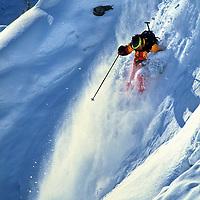 SKIING, Montana, Sinuhe Shrecengost (MR) skiing The Ridge at Bridger Bowl, MT.