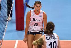 04-01-2016 TUR: European Olympic Qualification Tournament Nederland - Duitsland, Ankara <br /> De Nederlandse volleybalvrouwen hebben de eerste wedstrijd van het olympisch kwalificatietoernooi in Ankara niet kunnen winnen. Duitsland was met 3-2 te sterk (28-26, 22-25, 22-25, 25-20, 11-15) / Robin de Kruijf #5