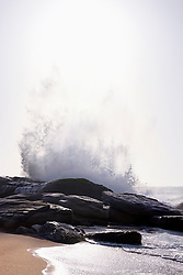 Big waves splashing at rock, Western Province, Sri Lanka