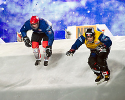 04-02-2012 SKATING: RED BULL CRASHED ICE WORLD CHAMPIONSHIP: VALKENBURG<br /> (L-R) Andreas Ruegge SUI, Travis Nagata CAN<br /> ©2012-FotoHoogendoorn.nl / Peter Schalk