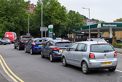 © Licensed to London News Pictures. 25/09/2021. High Wycombe, UK. Cars queue up at a Morrisons petrol station in High Wycombe as panic buying takes hold following reports of fuel shortages due to delivery difficulties in the supply chain across in the UK because of a lack of HGV drivers. Photo credit: Peter Manning/LNP