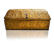 Gothic embossed Brass on wood box, circa 1370-1450, possibly made in Barcelona, Catalunya. National Museum of Catalan Art, Barcelona, Spain, inv no: MNAC 5361. Against a white background. .<br /> <br /> If you prefer you can also buy from our ALAMY PHOTO LIBRARY  Collection visit : https://www.alamy.com/portfolio/paul-williams-funkystock/gothic-art-antiquities.html  Type -     MANAC    - into the LOWER SEARCH WITHIN GALLERY box. Refine search by adding background colour, place, museum etc<br /> <br /> Visit our MEDIEVAL GOTHIC ART PHOTO COLLECTIONS for more   photos  to download or buy as prints https://funkystock.photoshelter.com/gallery-collection/Medieval-Gothic-Art-Antiquities-Historic-Sites-Pictures-Images-of/C0000gZ8POl_DCqE