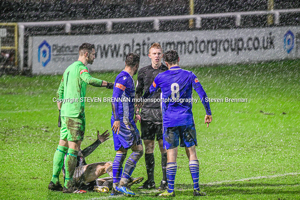 Foul in the box by Hopkins as Bath City players goes down allowing a penalty