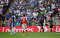 Arsenal's Aaron Ramsey is booked for unsporting behaviour during the Emirates FA Cup Final at Wembley Stadium, London.
