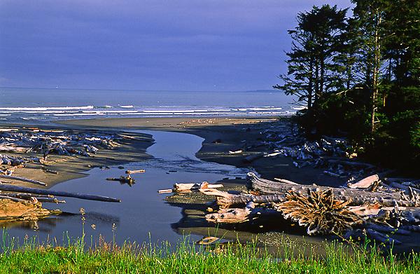 Kalaloch Creek crosses Kalaloch Beach and enters the Pacific Ocean.  Olympic National Park, Washington, USA