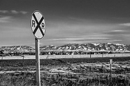 Rail crossing near Bozeman, Montana.