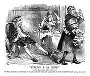 """Finance a la Mode!"" (After Hogarth - a very long way.) ""It will scarcely be possible to go on carrying forward liabilities in this indefinite way."" - Times, Oct. 1st 1879"
