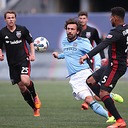 NEW YORK, NEW YORK - March 12:  Andrea Pirlo #21 of New York City FC and Sean Franklin #5 of D.C. United in action during the NYCFC Vs D.C. United regular season MLS game at Yankee Stadium on March 12, 2017 in New York City. (Photo by Tim Clayton/Corbis via Getty Images)