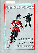 Cycling: Lady in 'Rational' cycling dress. Cover of 'The Sketch Cycling Supplement' London 14 November 1897 celebrating 21 years of the Stanley Cycling Club.