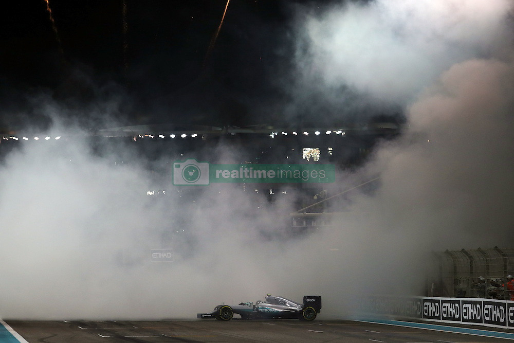 Rennen des Grand Prix von Abu Dhabi auf dem Yas Marina Circuit / 271116<br /> <br /> ***Abu Dhabi Formula One Grand Prix on November 27th, 2016 in Abu Dhabi, United Arab Emirates - Racing Day *** <br /> <br /> Nico Rosberg (GER) Mercedes AMG F1 celebrates his second position and World Championship at the end of the race.<br /> 27.11.2016. Formula 1 World Championship, Rd 21, Abu Dhabi Grand Prix, Yas Marina Circuit, Abu Dhabi, Race Day.<br /> - www.xpbimages.com, EMail: requests@xpbimages.com - copy of publication required for printed pictures. Every used picture is fee-liable. © Copyright: Moy / XPB Images