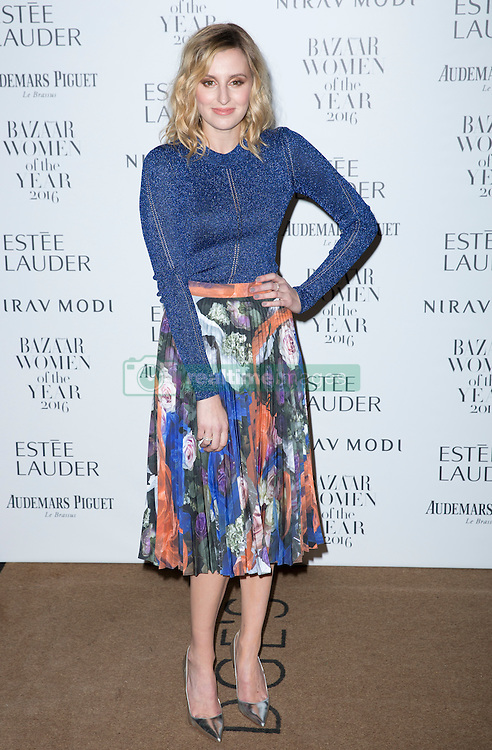 Laura Carmichael attending the Harper's Bazaar Woman of the Year awards at Claridges in London. Picture date: Monday October 31, 2016. Photo credit should read: Isabel Infantes / EMPICS Entertainment.