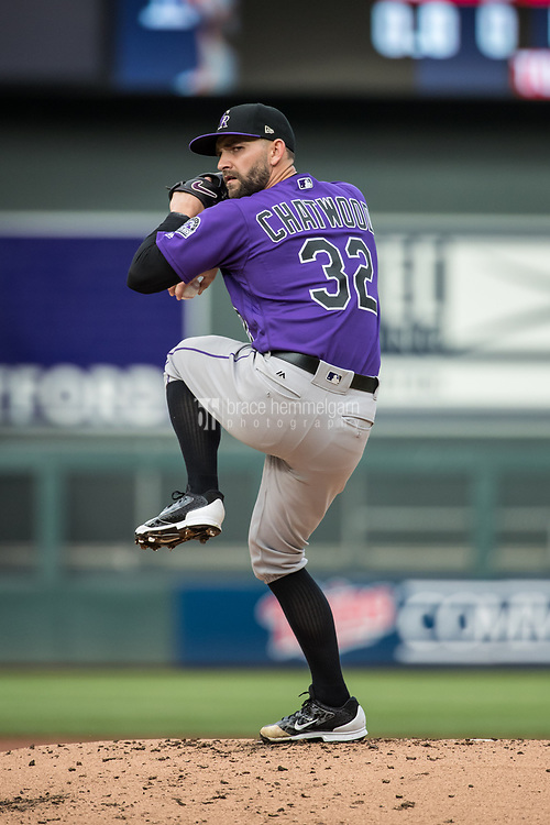 MINNEAPOLIS, MN- MAY 18: Tyler Chatwood #32 of the Colorado Rockies pitches during game two of a doubleheader against the Minnesota Twins on May 18, 2017 at Target Field in Minneapolis, Minnesota. The Rockies defeated the Twins 2-0. (Photo by Brace Hemmelgarn) *** Local Caption *** Tyler Chatwood