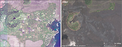 September 28, 2018 - Leilani Estates, Hawaii, U.S. - This comparison shows the area of Kapoho before and after. Kapoho Crater is in the left portion of the image. Lava filled much of the crater, including the small nested crater that contained Green Lake. The Kapoho Beach Lots subdivision is in the right side of the image, north of Kapoho Bay, and was completely covered by the fissure 8 lava flow. Vacationland Hawai'i, in the lower right corner of the image, was also completely covered, along with the adjacent tide pools. Kapoho Farm Lots, near the center of the image, is also beneath the flow. For a map of the 2018 lower East Rift Zone eruption fissures and surrounding area (Credit Image: © USGS via ZUMA Wire/ZUMAPRESS.com)