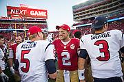 San Francisco 49ers quarterback Blaine Gabbert (2) talks with Houston Texans quarterback Brandon Weeden (5) after a preseason game at Levi's Stadium in Santa Clara, Calif., on August 14, 2016. (Stan Olszewski/Special to S.F. Examiner)