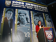 28 August 2006: 2006 inductee Carla Overbeck gives her induction speech. The National Soccer Hall of Fame Induction Ceremony was held at the National Soccer Hall of Fame in Oneonta, New York.